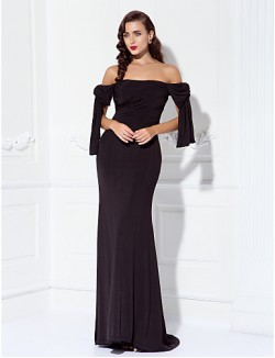 Prom Gowns New Zealand Formal Evening Dress Military Ball Dress Sexy Open Back Elegant Plus Size Petite Sheath Column Off The Shoulder