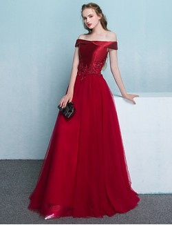 New Zealand Formal Evening Dress A Line Off The Shoulder Long Floor Length Tulle Dress With Appliques Beading