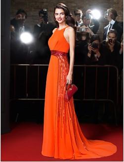 New Zealand Formal Evening Dress Sheath Column Jewel Court Train Chiffon With Beading Sash Ribbon Sequins