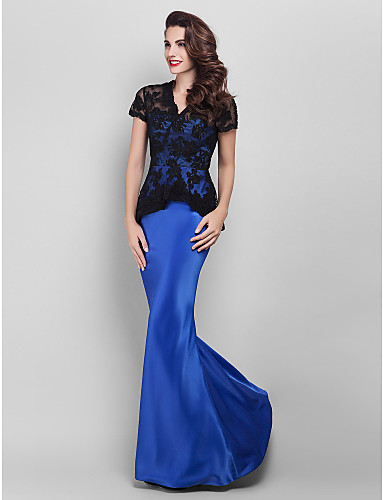 Prom Gowns New Zealand Formal Evening Dress Military Ball Dress Plus Size Petite Trumpet Mermaid V Neck Long Floor Length Lace Dress Satin With Appliques Lace