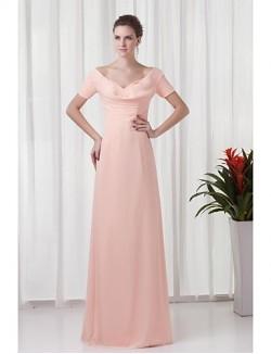 New Zealand Formal Evening Dress Sheath Column V Neck Long Floor Length Chiffon With Ruching