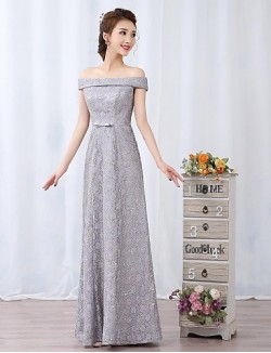 New Zealand Cocktail Party Dresses New Zealand Formal Evening Dress A Line Off The Shoulder Long Floor Length Lace Dress With Bow Lace Sash Ribbon