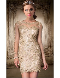 New Zealand Cocktail Party Dress A Line Jewel Short Knee Length Lace With Lace