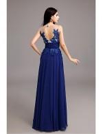 2017 New Zealand Formal Evening Dress A Line Jewel Long Floor Length Chiffon With Appliques
