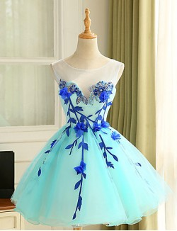 New Zealand Cocktail Party Dress Ball Gown Jewel Short Knee Length Tulle With Appliques