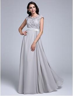 New Zealand Formal Evening Dress Sheath Column Jewel Long Floor Length Chiffon Lace With Lace