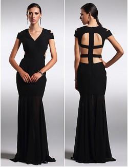New Zealand Formal Evening Dress Beautiful Back Plus Size Petite Sheath Column V Neck Long Floor Length Chiffon With