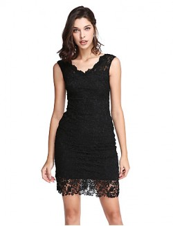 New Zealand Cocktail Party Dress Sheath Column V Neck Short Mini Lace With Lace