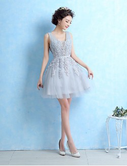 New Zealand Cocktail Party Dress Ball Gown V Neck Short Mini Lace With Beading Sash Ribbon