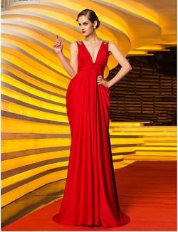 New Zealand Formal Evening Dress Military Ball Dress Ruby Plus Sizes Dresses Sheath Column PetiteV Neck Sweep Brush Train Jersey