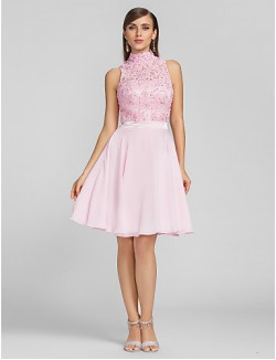 New Zealand Cocktail Party Dresses Homecoming Prom Dress Short Plus Size Petite A Line High Neck Short Knee Length Chiffon Lace With Appliques Beading