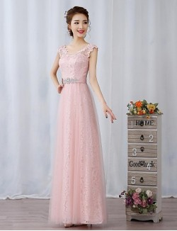 New Zealand Cocktail Party Dresses New Zealand Formal Evening Dress Sheath Column Scoop Long Floor Length Lace Dress Tulle With Appliques Crystal Detailing