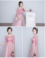 New Zealand Formal Evening Dress Ball Gown Jewel Long Floor Length Lace Dress Tulle With Lace
