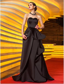 New Zealand Formal Evening Dress Military Ball Dress Vintage Inspired Plus Size Petite A Line Sweetheart Sweep Brush Train Satin