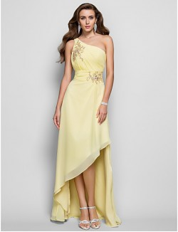 Prom Gowns New Zealand Formal Evening Dress Elegant Plus Size Petite A Line Princess Sexy One Shoulder Asymmetrical Chiffon WithAppliques Beading