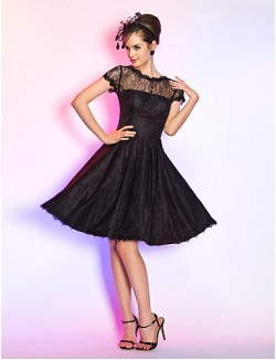 New Zealand Cocktail Party Dresses Homecoming Prom Dress Short Plus Size Petite A Line Jewel Short Knee Length Lace With Buttons Draping