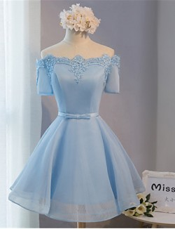 New Zealand Cocktail Party Dress Ball Gown Off The Shoulder Short Mini Lace Satin With Bow