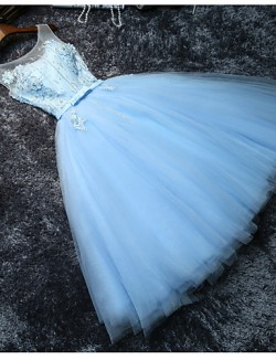 New Zealand Cocktail Party Dress A Line Scoop Short Mini Tulle With Beading