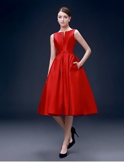 New Zealand Cocktail Party Dress A Line Bateau Short Knee Length Satin With Pockets