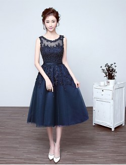 New Zealand Cocktail Party Dress A Line Scoop Tea Length Lace Tulle With Appliques Beading