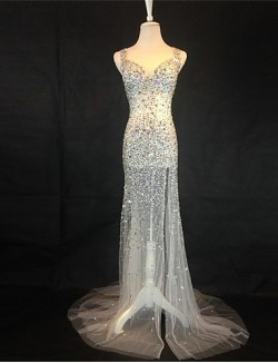 New Zealand Formal Evening Dress Trumpet Mermaid Sweetheart Sweep Brush Train Tulle With Beading