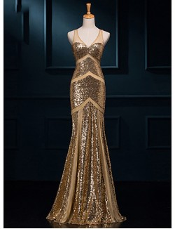 New Zealand Formal Evening Dress Trumpet Mermaid V Neck Long Floor Length Sequined With Sequins