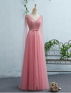 New Zealand Formal Evening Dress A Line V Neck Long Floor Length Tulle Dress With Sash Ribbon
