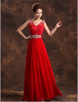 New Zealand Formal Evening Dress A Line V Neck Long Floor Length Chiffon With