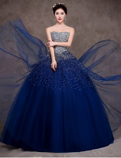 New Zealand Formal Evening Dress Ball Gown Strapless Long Floor Length Satin Tulle Stretch Satin With Sequins