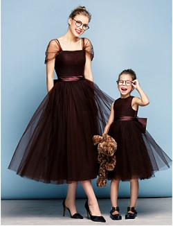 New Zealand Formal Evening Dress Plus Size Petite Ball Gown Square Tea Length Tulle With Bow Sash Ribbon Ruching