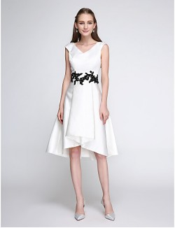 New Zealand Cocktail Party Dress A Line V Neck Short Knee Length Satin With Appliques