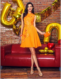 New Zealand Cocktail Party Dresses Company Party Dress A Line Jewel Short Knee Length Chiffon With Appliques
