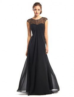 New Zealand Formal Evening Dress A Line Jewel Long Floor Length Chiffon With Lace