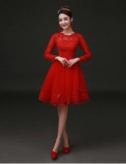 New Zealand Cocktail Party Dress A Line Jewel Short Knee Length Lace Satin With Lace