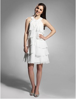 New Zealand Cocktail Party Dresses Graduation Holiday Dress 1920s Plus Size Petite Sheath Column Jewel Short Knee Length Chiffon With Beading Tiers