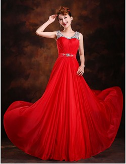 New Zealand Formal Evening Dress A Line Princess Scoop Sweep Brush Train Silk With Beading Crystal Detailing Draping Sash Ribbon Sequins