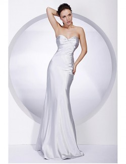 New Zealand Formal Evening Dress Military Ball Dress Open Back Plus Size Petite Trumpet Mermaid Strapless Sweetheart Long Floor Length Stretch Satin