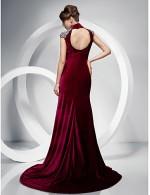 New Zealand Formal Evening Dress Black Tie Gala Dress Elegant Plus Size Petite Trumpet Mermaid High Neck Sweep Brush Train Velvet WithCrystal