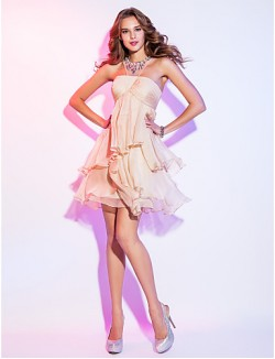 New Zealand Cocktail Party Dresses Homecoming Holiday Dress Short Plus Size Petite A Line Scoop Short Mini Chiffon WithCrystal Detailing Criss