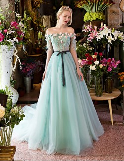 New Zealand Formal Evening Dress Ball Gown Off The Shoulder Court Train Lace Tulle WithAppliques Beading Crystal Detailing Flower Lace