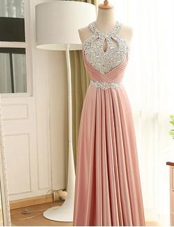 New Zealand Formal Evening Dress Sheath Column Halter Long Floor Length Stretch Satin With Beading Crystal Detailing Sequins
