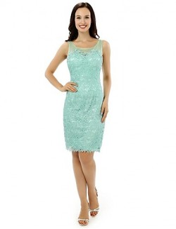 New Zealand Formal Evening Dress Sheath Column Scoop Short Knee Length Lace Satin With Lace Ruffles