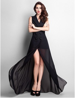 Prom Gowns New Zealand Formal Evening Dress Military Ball Dress Sexy Plus Size Petite Sheath Column V Neck Long Floor Length Chiffon With Buttons