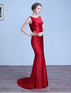 New Zealand Formal Evening Dress Trumpet Mermaid Scoop Sweep Brush Train Satin With Side Draping