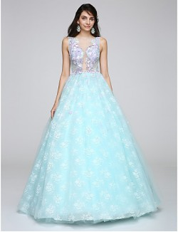 New Zealand Formal Evening Dress Ball Gown Scoop Long Floor Length Lace Dress With Appliques