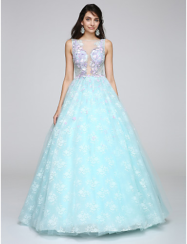 2017 New Zealand Formal Evening Dress Ball Gown Scoop Long Floor Length Lace Dress With Appliques