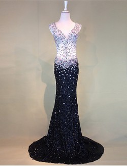 New Zealand Formal Evening Dress Trumpet Mermaid V Neck Court Train Tulle With Beading