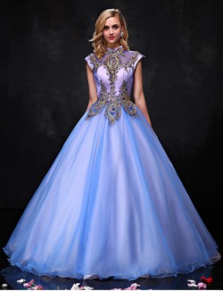 New Zealand Formal Evening Dress Ball Gown Halter Long Floor Length Organza With Beading Lace Sequins