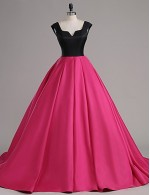 2017 New Zealand Formal Evening Dress A Line Notched Court Train Satin With Buttons