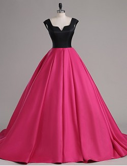 New Zealand Formal Evening Dress A Line Notched Court Train Satin With Buttons